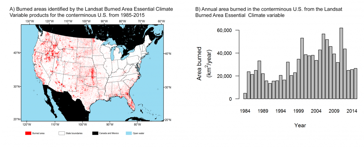 Map of areas burned from 1984–2015 (A) and barchart of annual area burned (B) from the Landsat Burned Area Essential Climate Variable for the conterminous U.S.