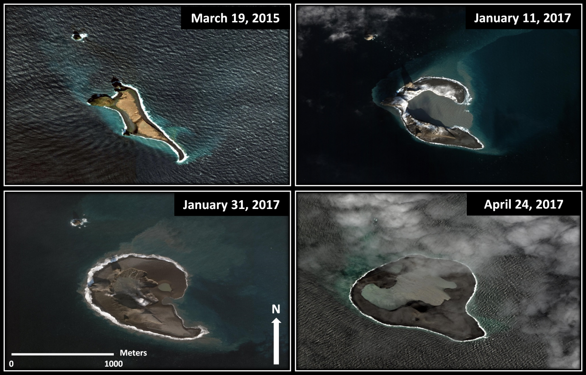 Series of WorldView satellite images of Bogoslof Island, Alaska, showing changes in the shape and size due to eruptive activity of Bogoslof volcano. The eruption began in mid-December 2016 and continues through the summer of 2017. Image data provided under the Digital Globe NextView License.