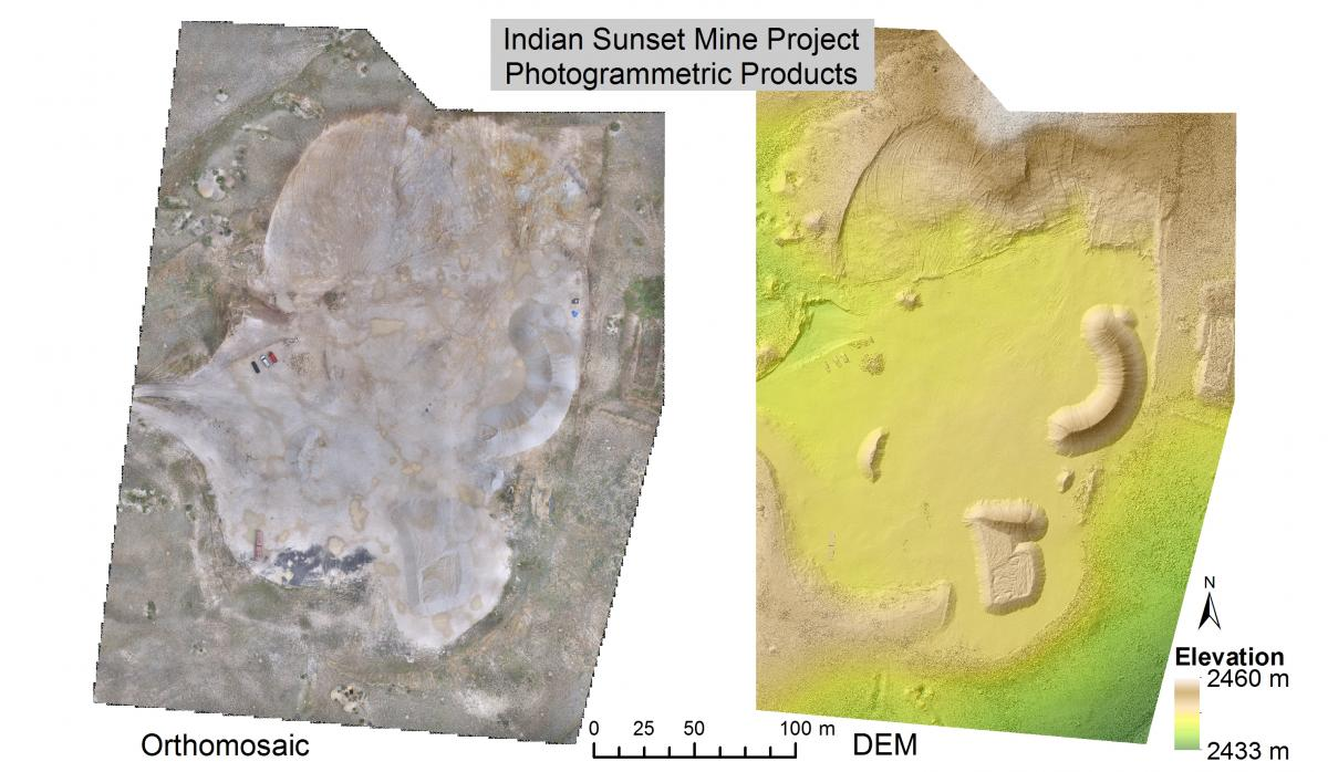 High-resolution orthomosaic and elevation model spanning the Indian Sunset Mine.