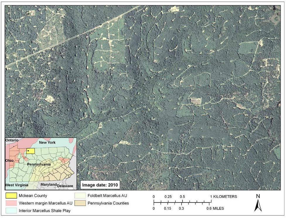 "High spatial resolution imagery from the National Agricultural Imagery Program (NAIP) was used to digitize the landscape disturbance related to hydraulic fracturing (""fracking"") and other forms of hydrocarbon extraction activity throughout the Marcellus Shale region of Pennsylvania from 2004 to 2010.  Specific topological features such as well pads, pipelines, and roads were extracted and developed into a temporal GIS database."