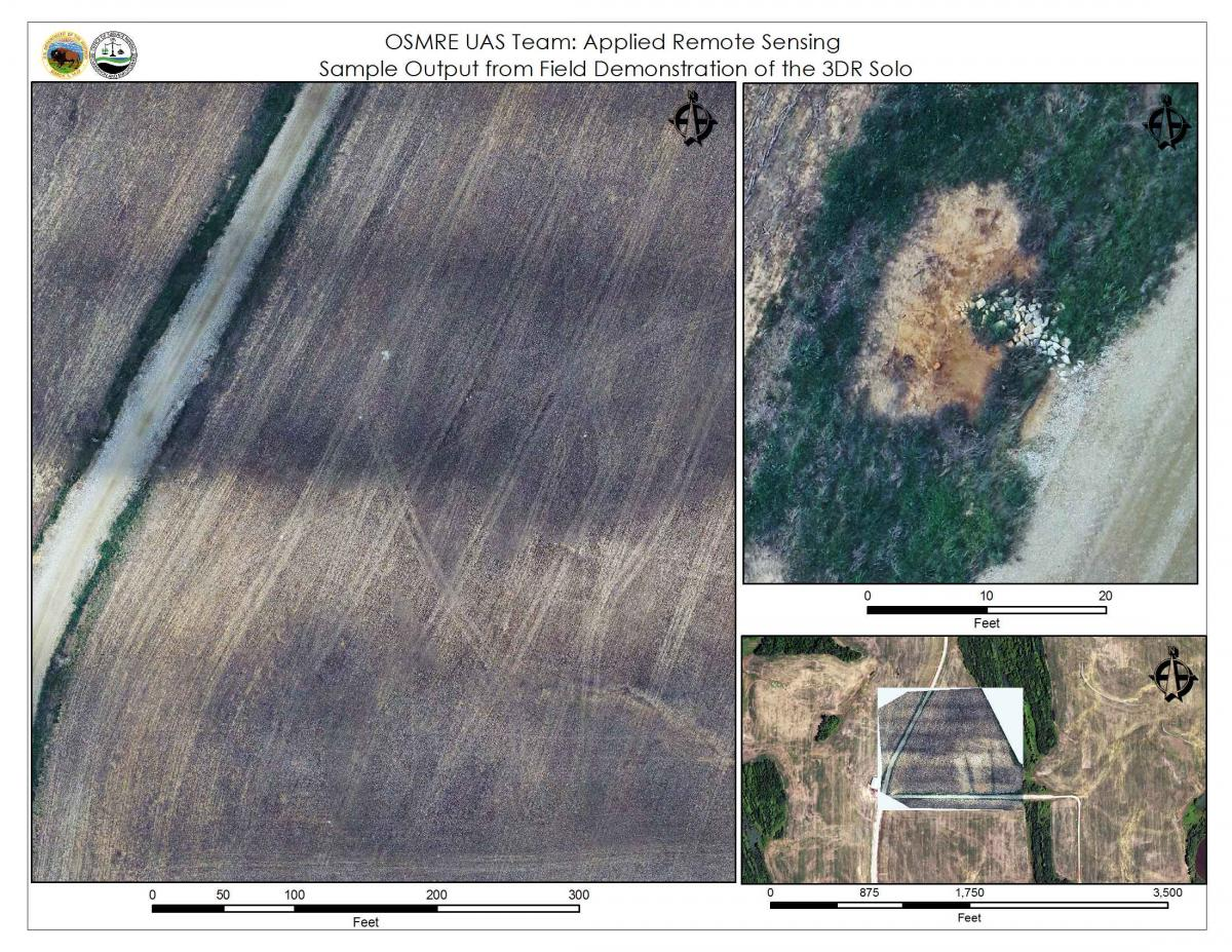 Sample of output from UAS system at three different scales. The left panel shows a detailed view of a farm field, including tire tracks. The upper right panel is a close-up of riprap drainage features. The bottom-right is an overlay of one drone composite image on a National Agriculture Imagery Program (NAIP) image, showing the precise ortho-rectification that the workflow can achieve.