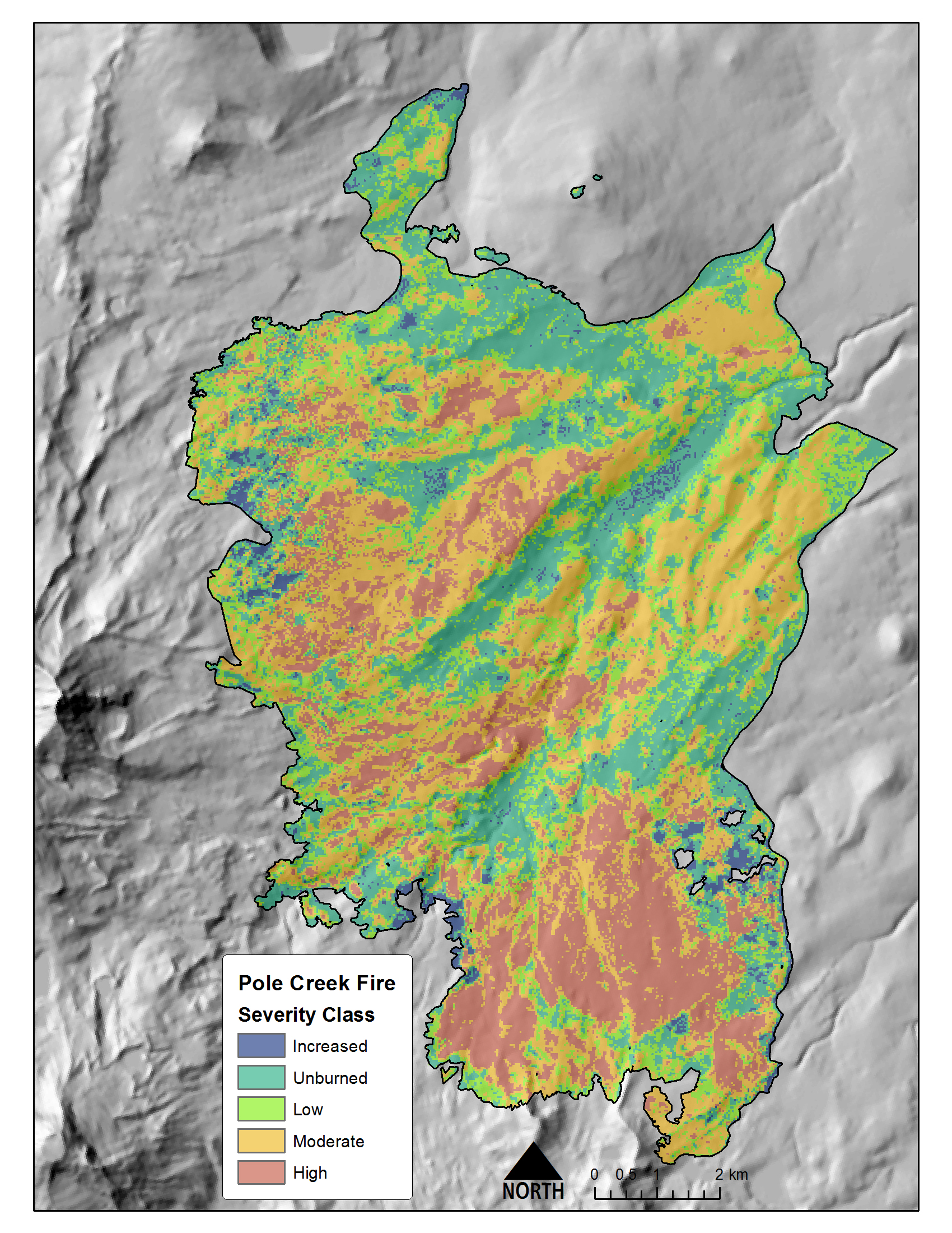 Pre-fire and post-fire lidar-derived burn severity for the Pole Creek Fire, 2012. North is oriented toward the top of the image.