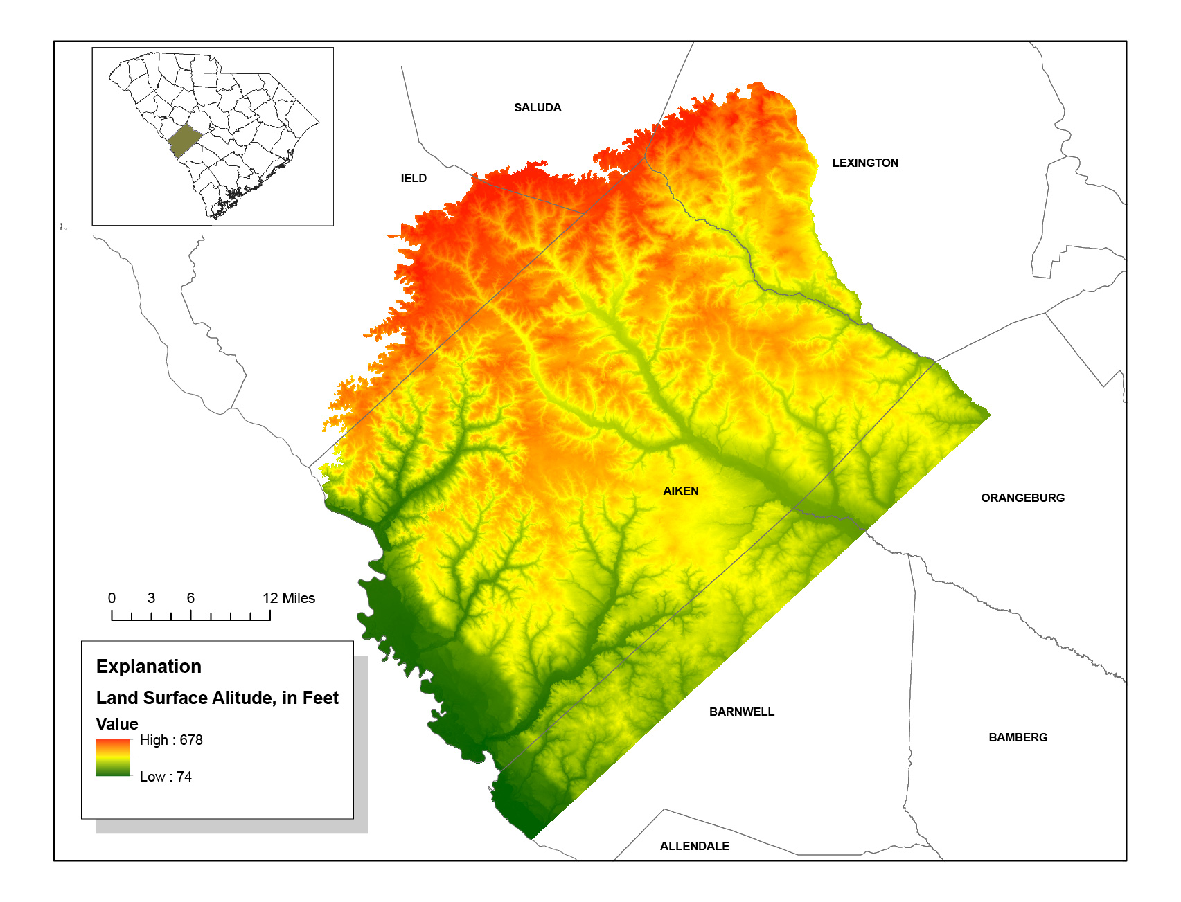 Land surface altitudes of the Aiken County, South Carolina, area derived from lidar.