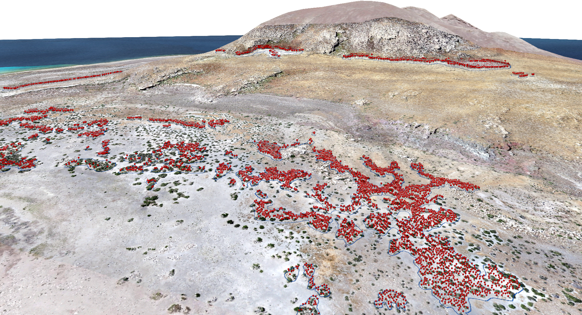 Natural color imagery collected via the RQ-11A Raven UAS platform. Three-dimensional models created from the individual images captured by the UAS. Red pins mark individual American pelicans on the island.