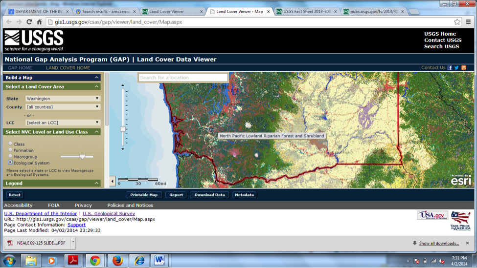 The National Gap Analysis Program's Land Cover Data Viewer.