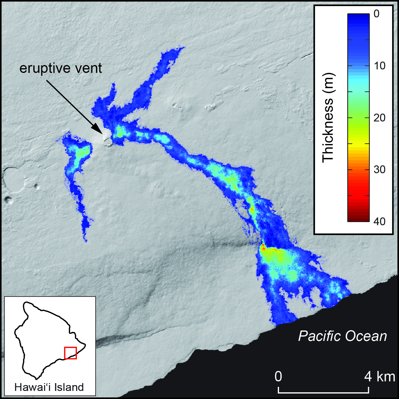 Map of lava flow thickness on Kilauea volcano for activity that occurred during July 2011–June 2013, overlain on a shaded relief map of the region.  Data are derived from differencing DEMs that were produced from TanDEM-X satellite SAR imagery.  Color indicates lava flow thickness.  Gray areas were not covered by lava flows during the time spanned.