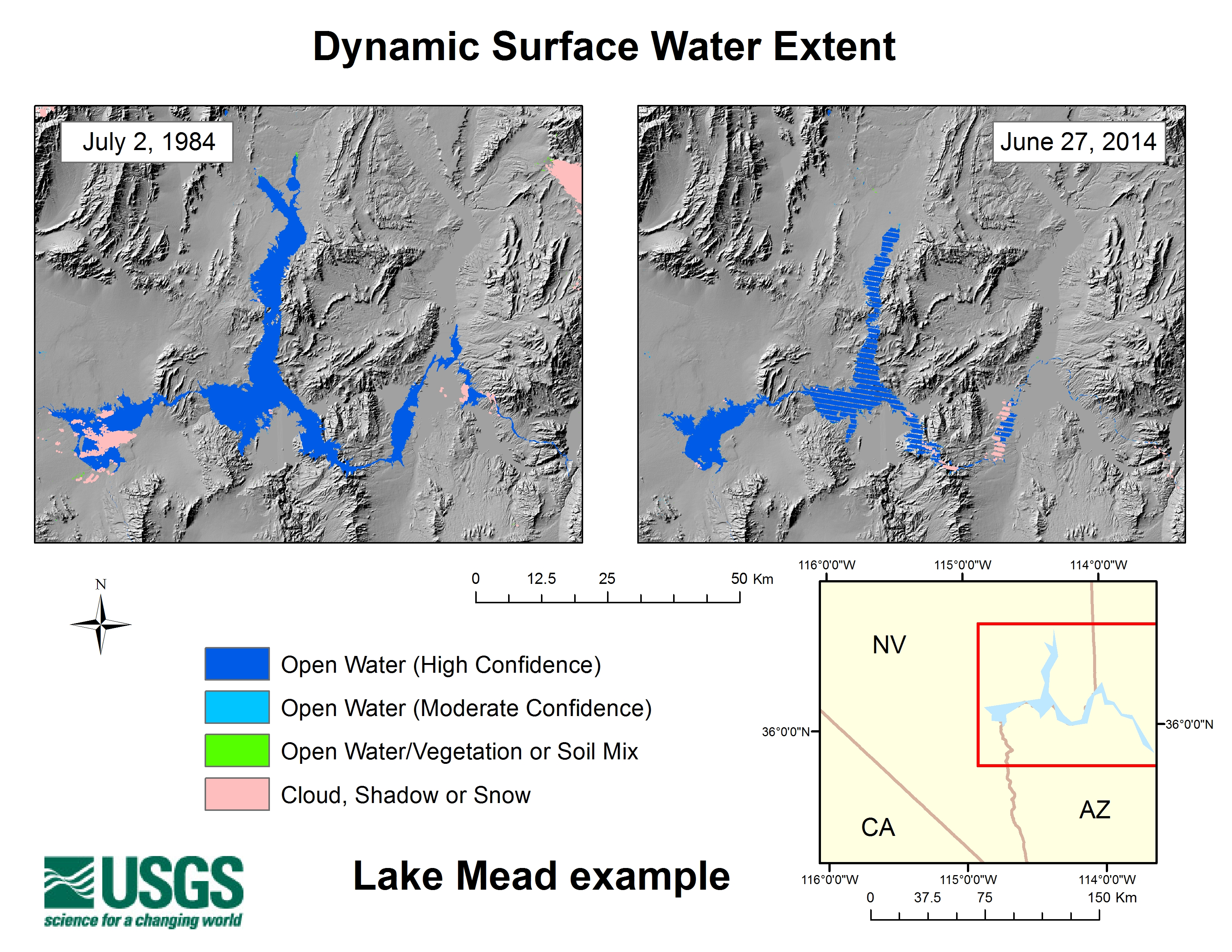 Lake Mead Dynamic Surface Water Extent data derived from Landsat 5 (Left) and Landsat 7 (right) summer images captured nearly 30 years apart. Significant differences in Lake Mead aerial extent caused by variations in climate and water demand are obvious. Such lengthy records of surface water variations are useful for science, resource management, and education. Note: Cross hatches visible in the right image are missing data due to The Landsat 7 scan line corrector failure.