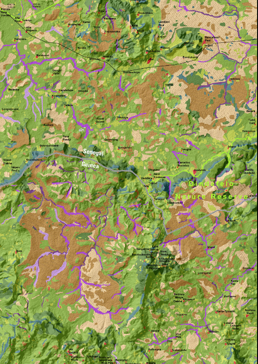 Land cover data from Landsat 8 combined with enhanced SRTM 30-m data. North is oriented toward the top of the image.