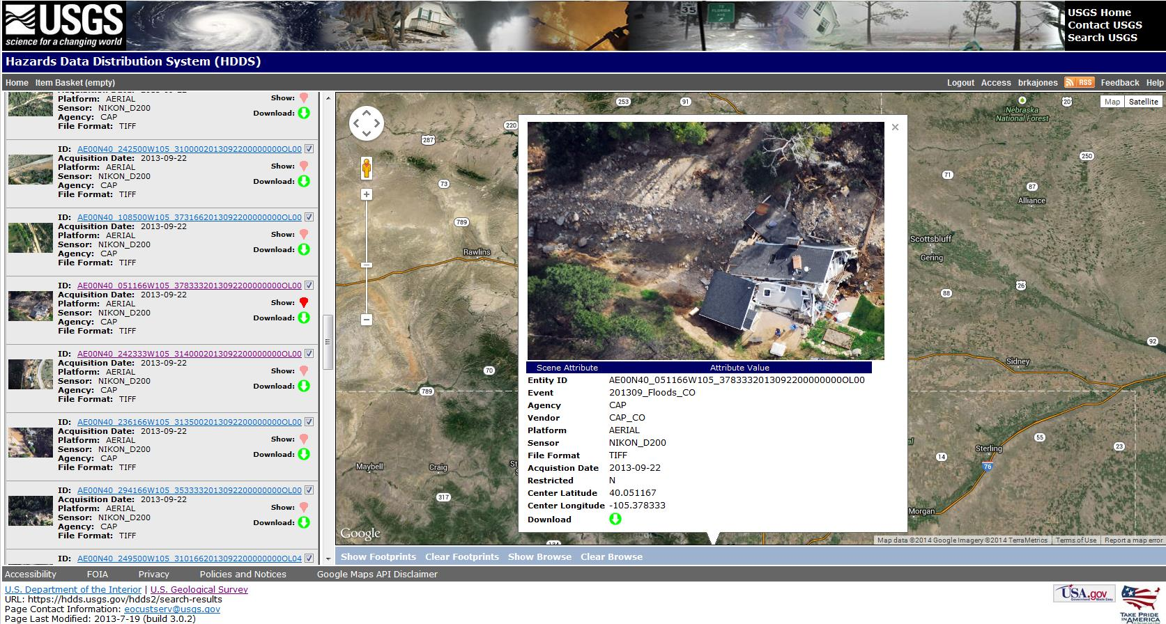 Civil Air Patrol browse image showing damaged structure from the September 2013 Colorado floods, as displayed in the Hazard Data Distribution System.