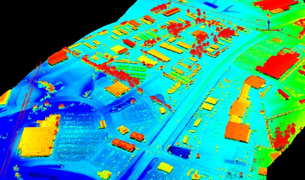 Lidar data collected with the HRQLS sensor over Easton, Maryland . Data courtesy of Sigma Space.