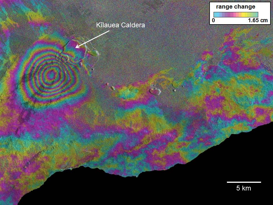 This interferogram is from COSMO-SkyMed synthetic aperature radar data acquired on April 11 and May 22, 2015. The concentric pattern of fringes in the southern part of Kilauea caldera indicates inflation due to an intrusion of magma in the upper Southwest Rift Zone area in mid-May. The inflation was also detected by GPS and tiltmeters on the volcano, but the spatial resolution of IfSAR facilitated modeling of the event. Preliminary model results suggest a depth of 3.3 km and a volume increase of 5.5 million m3. These data were supplied as part of the global Group on Earth Observations Supersite initiative and would not otherwise have been available.