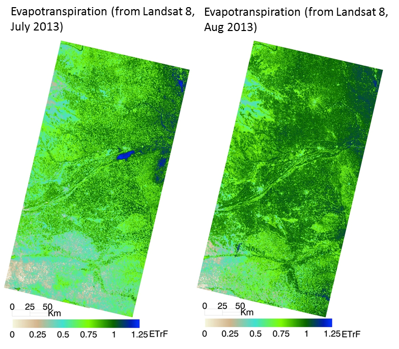 Nebraska's Central Platte Natural Resources District uses Landsat-based estimates of water use to manage the Ogallala Aquifer. (METRIC model pioneered by the Idaho Department of Water Resources, University of Idaho, and the Landsat Science Team.)