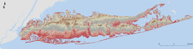 This map depicts the depth to the water table beneath Long Island during April–May 2013. Areas in which the depth to the water table is shallow are shown in red and indicate areas where potential substructure flooding may occur.