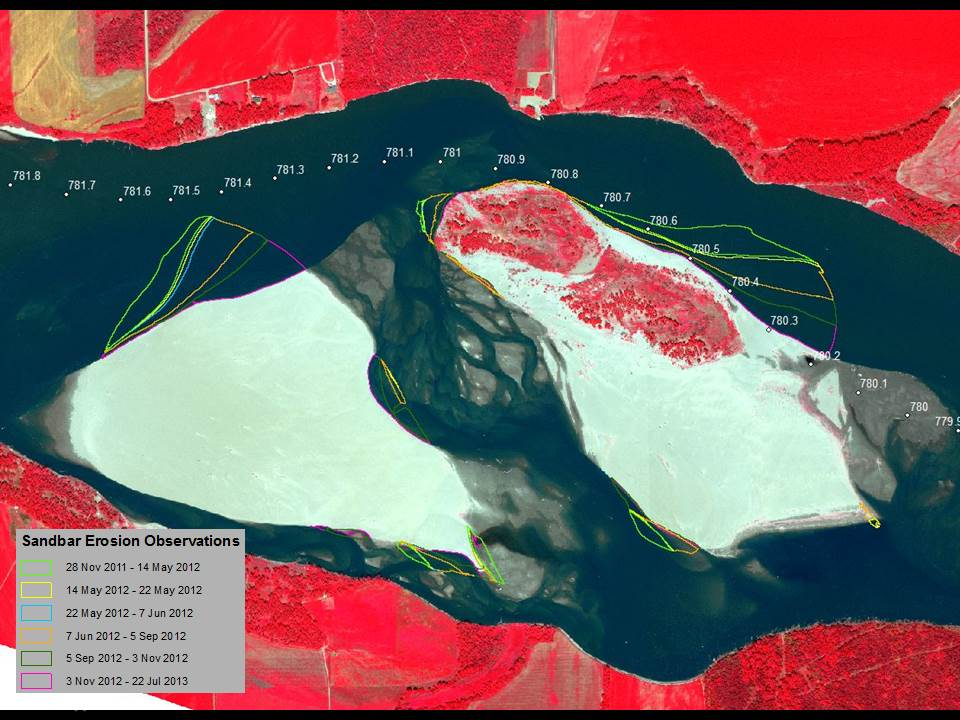 Observations of erosion following the 2011 flood for sandbars on the Gavins Point segment of the Missouri River mile 781 overlaid on a pan-sharpened, color infrared WorldView-2 image from July 22, 2013.