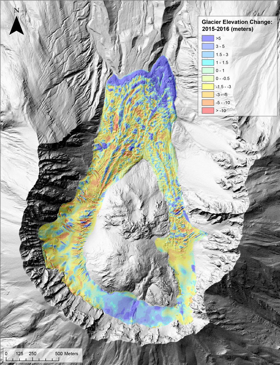 Crater Glacier elevation change from 2015 to 2016 measured by differencing high-resolution DEMs created with photogrammetry.