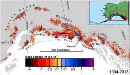 Estimated mass balance (1994–2013) for surveyed and unsurveyed glaciers in the most densely glacierized subregion of Alaska. The inset shows the entire region. Black lines indicate survey flight lines.