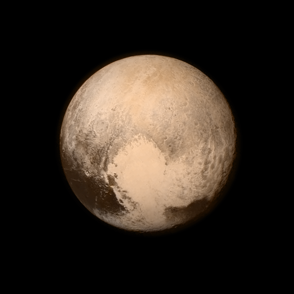 Pluto as seen by the New Horizons spacecraft a day before closest approach. This image is an example of combining data from two different instruments: here, the high-resolution monochromatic image has been combined with color information from a lower resolution multispectral image. Image created by the mission team from the John Hopkins University Applied Physics Laboratory and the Southwest Research Institute.