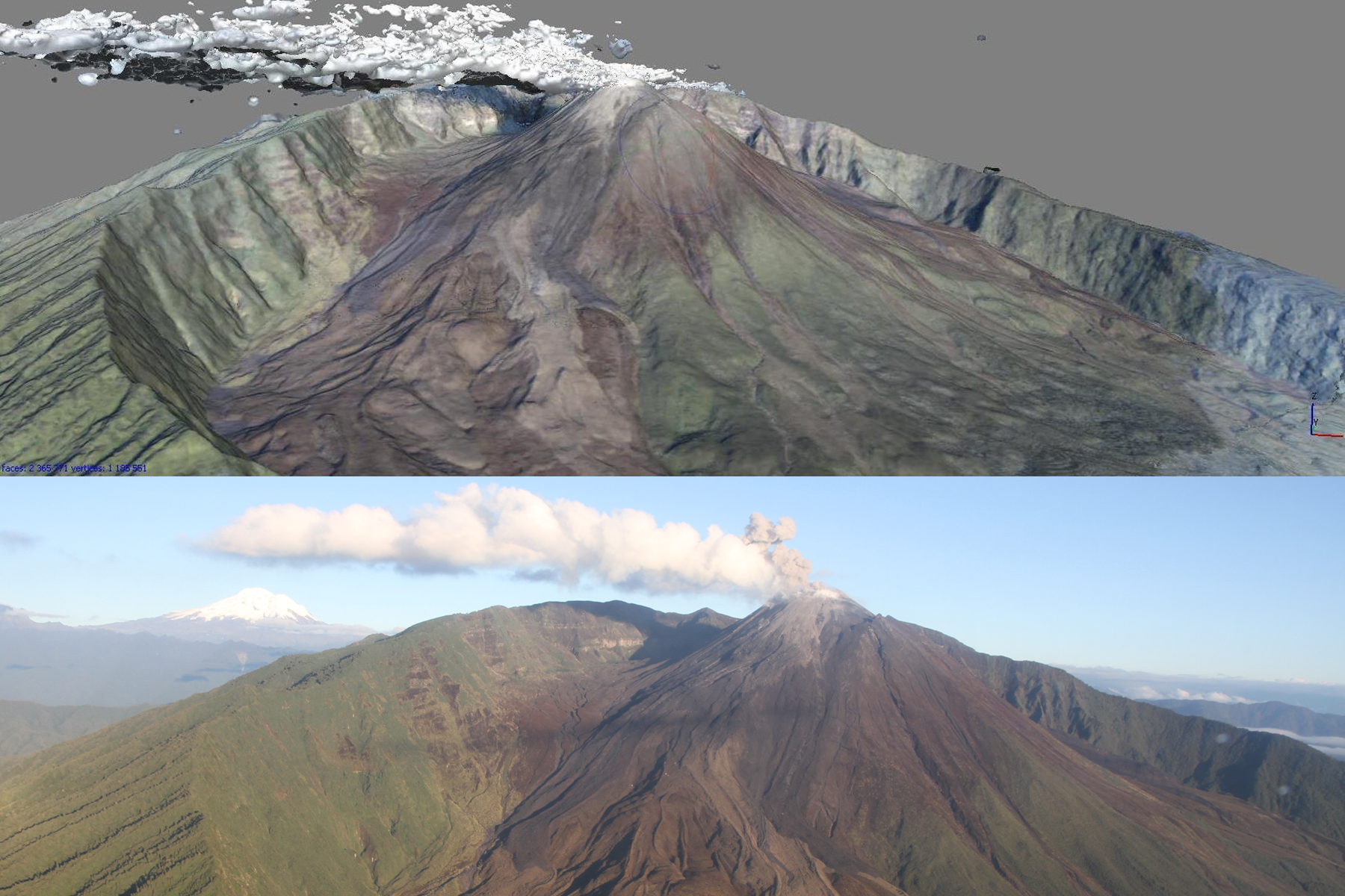 Oblique views of Reventador volcano represented as a DEM with RGB values added (above) and one of several hundred images (below) used in photogrammetric processing.  Note the vapor and ash plume that masks part of the summit lava dome.  Plumes and other atmospheric effects are common problems when imaging active volcanoes and are typically edited out during post-processing analysis.