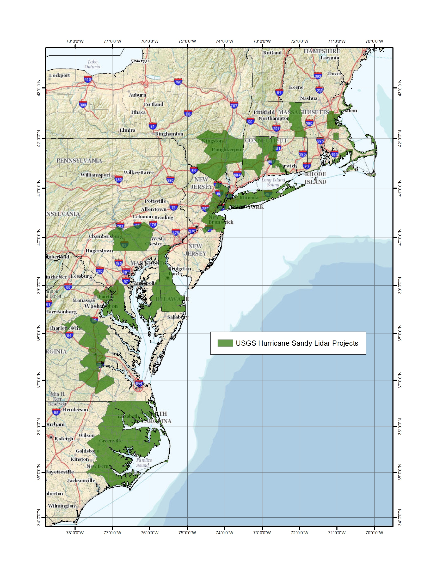 Green areas show the locations of Hurricane Sandy lidar projects.