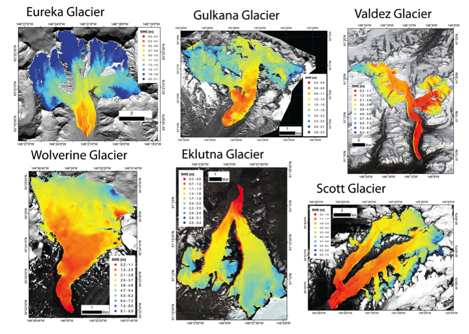 End-of-season distributed Snow Water Equivalent (SWE) at six glaciers throughout the Gulf of Alaska region. Radar-observed SWE on survey tracks is overlaid for comparison. Both variables are plotted on the same color scale within each subplot, although each glacier has a different scale to show the basin scale variability.