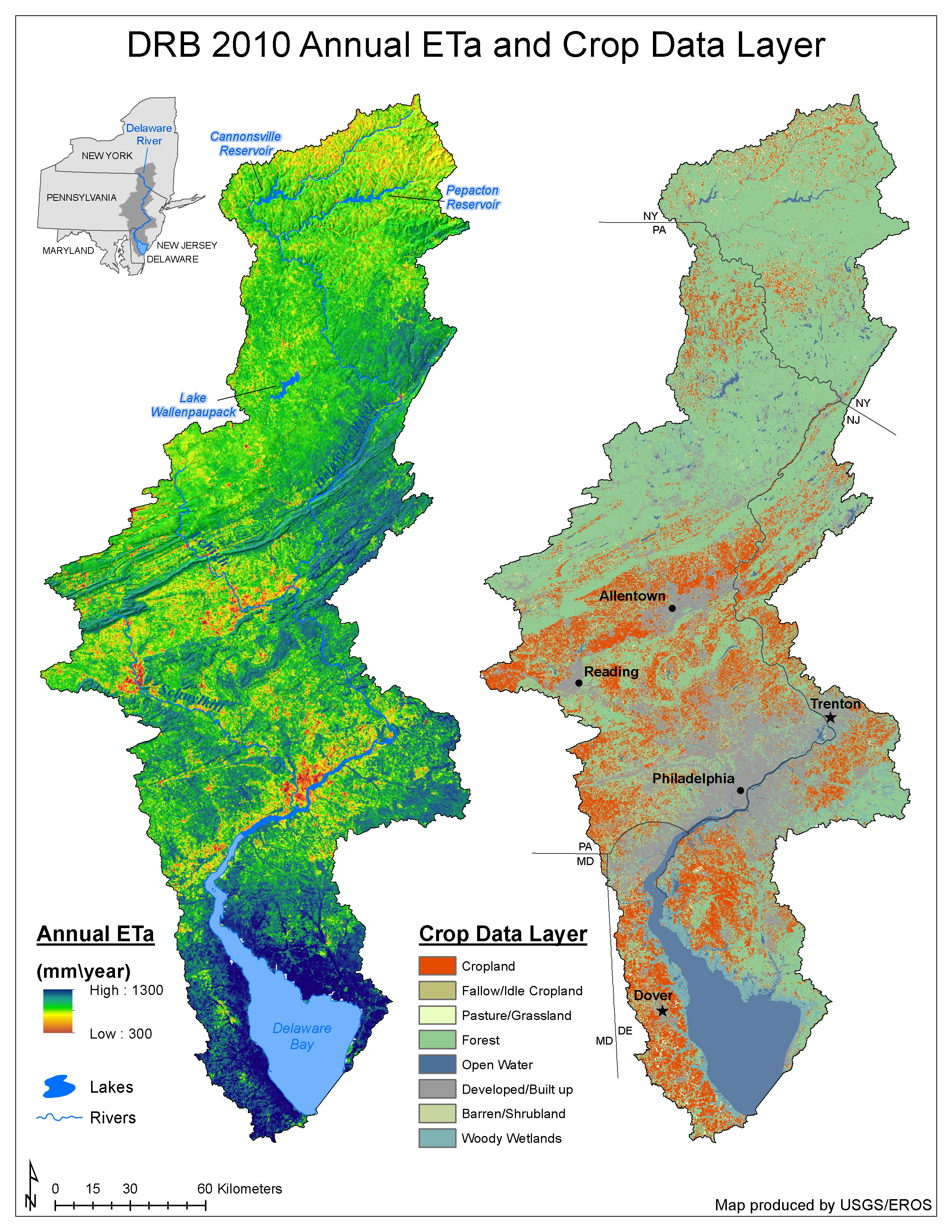 Annual evapotranspiration map and a crop data layer for 2010 in the Apalachicola-Chattahoochee-Flint River Basin.