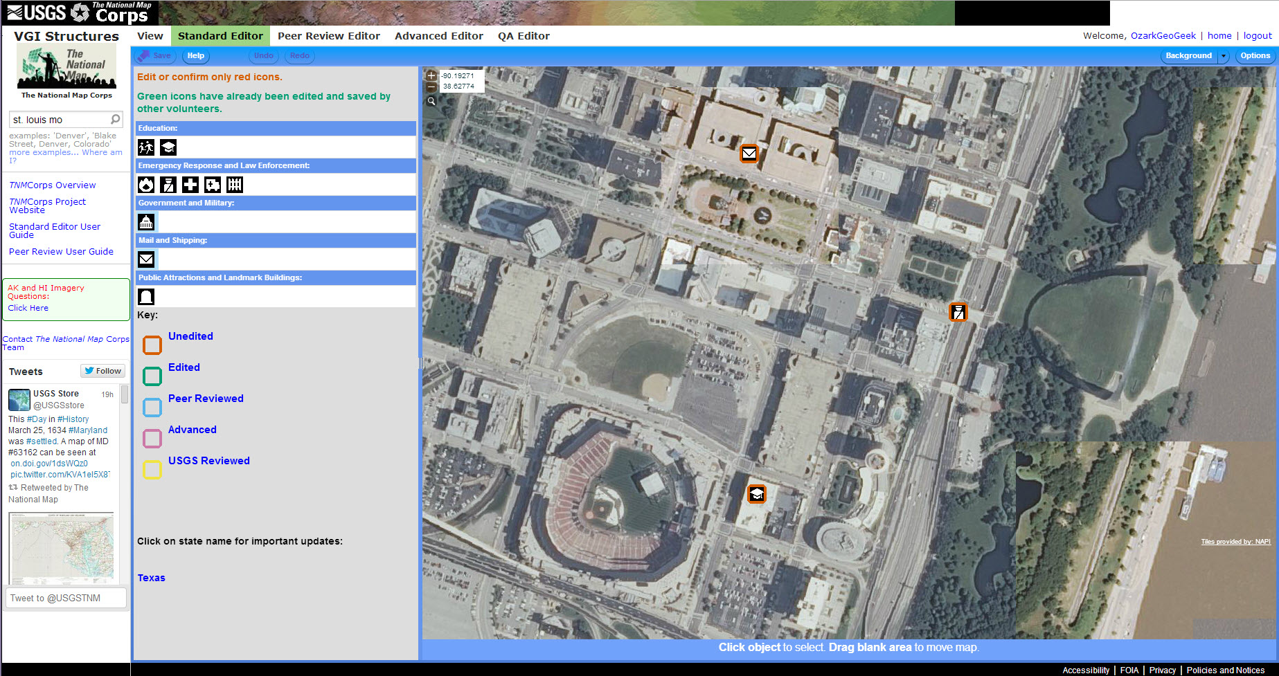 The National Map Corps Web Editor. This screenshot shows part of St. Louis, Missouri.