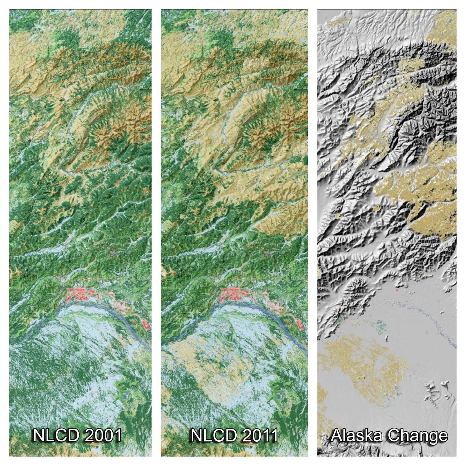 These three panels from the National Land Cover Database depict land cover change in the vicinity of Fairbanks, Alaska, from 2001 to 2011: (left) land cover in 2001 (forests in green, shrublands in brown, wetlands in blue, and urban in red); (middle) the updated land cover in 2011; and (right) areas where change occurred over this 10-year period, primarily as a result of wildfire, which converted large areas of forests to shrub and grasslands (shades of light brown in the right panel). Approximately 1 million acres burn across Alaska each year.