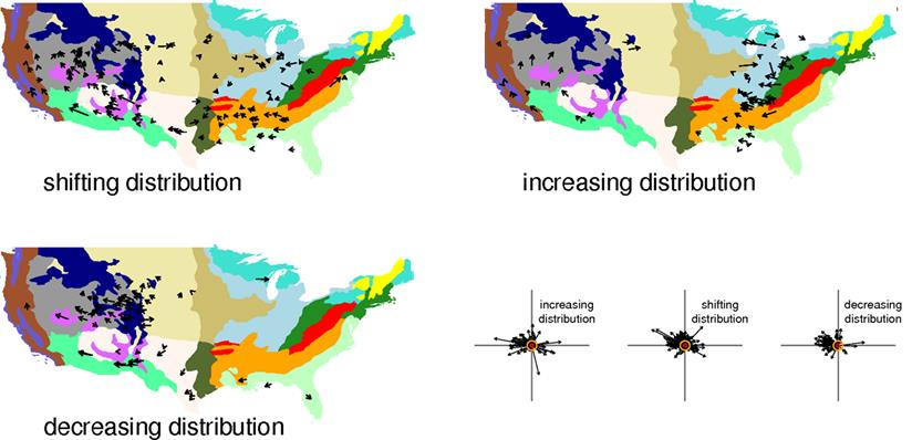 Changes in the distributions of bird species in response to recent climate change.