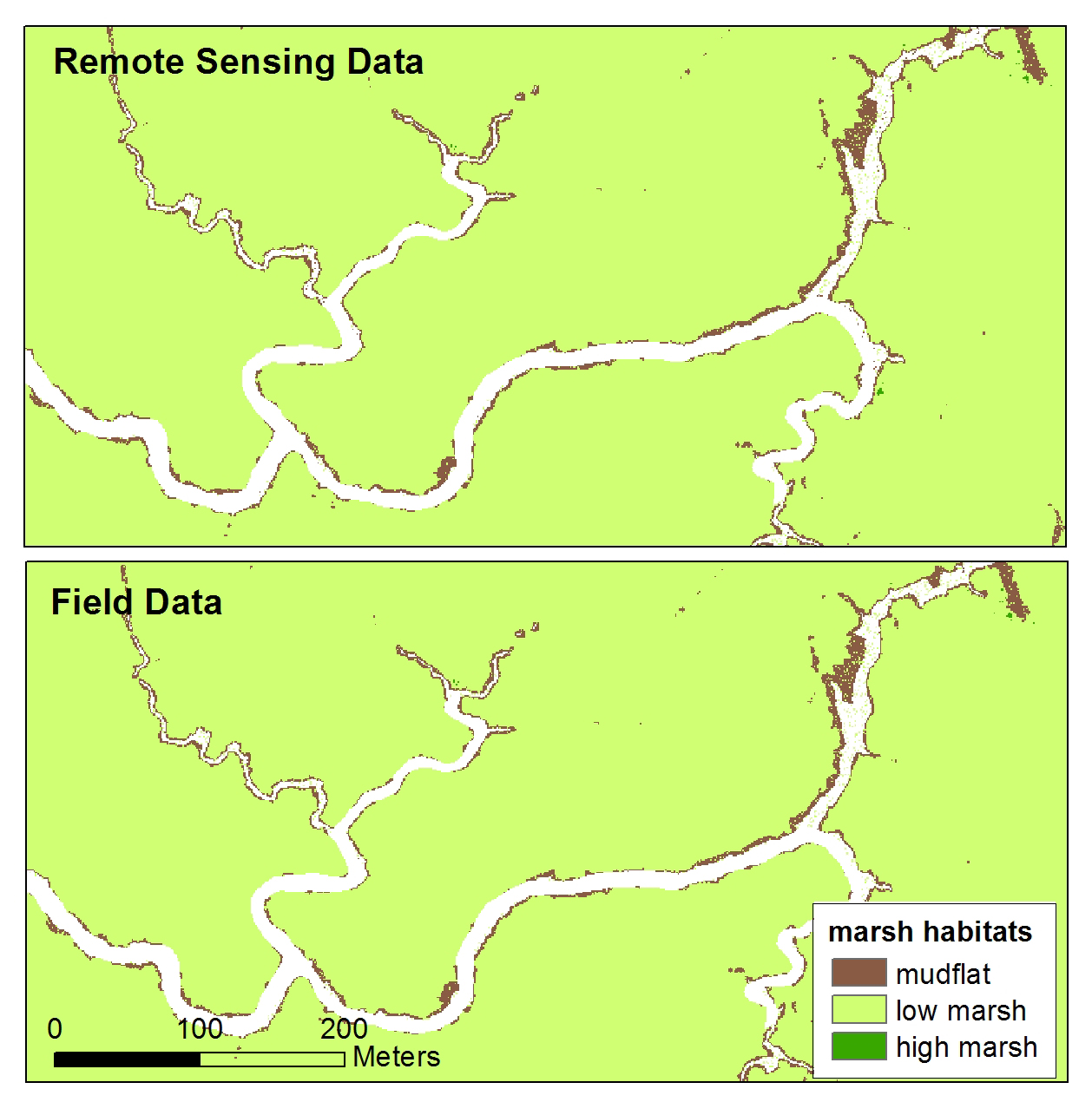 "Projected vegetation community maps at year 2100 for Rush Ranch, Suisun Marsh, California, based on Marsh Equilibrium Model (MEM) outputs and a lidar digital elevation model (DEM). The top map was generated with inputs derived from Landsat 8 to MEM, and the bottom map was generated with field data inputs to MEM. Comparison of Landsat 8 and field-based MEM inputs found no significant difference in projections across 95% of the marsh plain area at 100 years, with both projections illustrating a subtle ""sinking"" of the marsh. North is oriented toward the top of the image."
