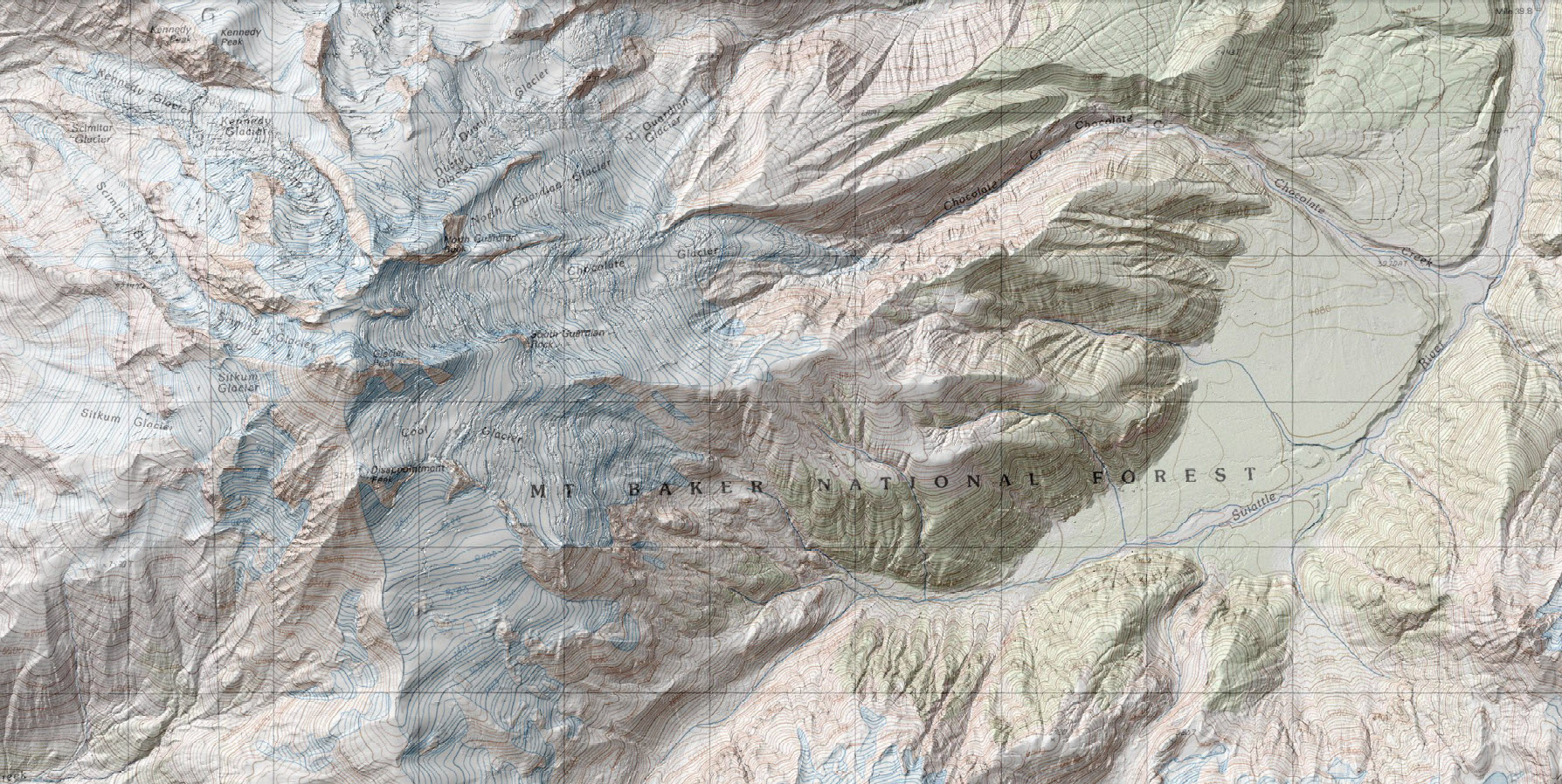 Map shows 1-m lidar-derived digital elevation model (DEM) data superimposed on a 1:24,000 USGS topographic map of the center of the lidar collection area for Glacier Peak. Glacier Peak's high altitude, steep terrain, and extremely dense forest cover make lidar collection perhaps the most difficult in the conterminous United States. The lidar data are being used for geologic mapping to reveal volcanic deposits on the mountain as well as in steep, forested river drainages. Elevation models derived from the lidar data will be used for computational modeling of volcano hazards, such as lahars (volcanic mudflows) that could travel downstream and affect nearby populated areas.