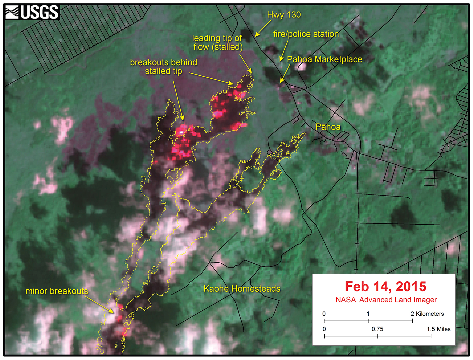 Advanced Land Imager true-color image (bands 10-8-9) over the distal portion of the June 27, 2014, lava flow on February 14, 2015, when the flow front threatened to cross the main highway and inundate a fire/police station. Red pixels show high temperatures (i.e., high values in the 2-micron band 10 channel) indicative of active lava breakouts.  Images such as this were useful in identifying the main areas of activity on the lava flow field. The yellow line is the mapped lava flow margin, and black lines are roads. North is oriented toward the top of the image.