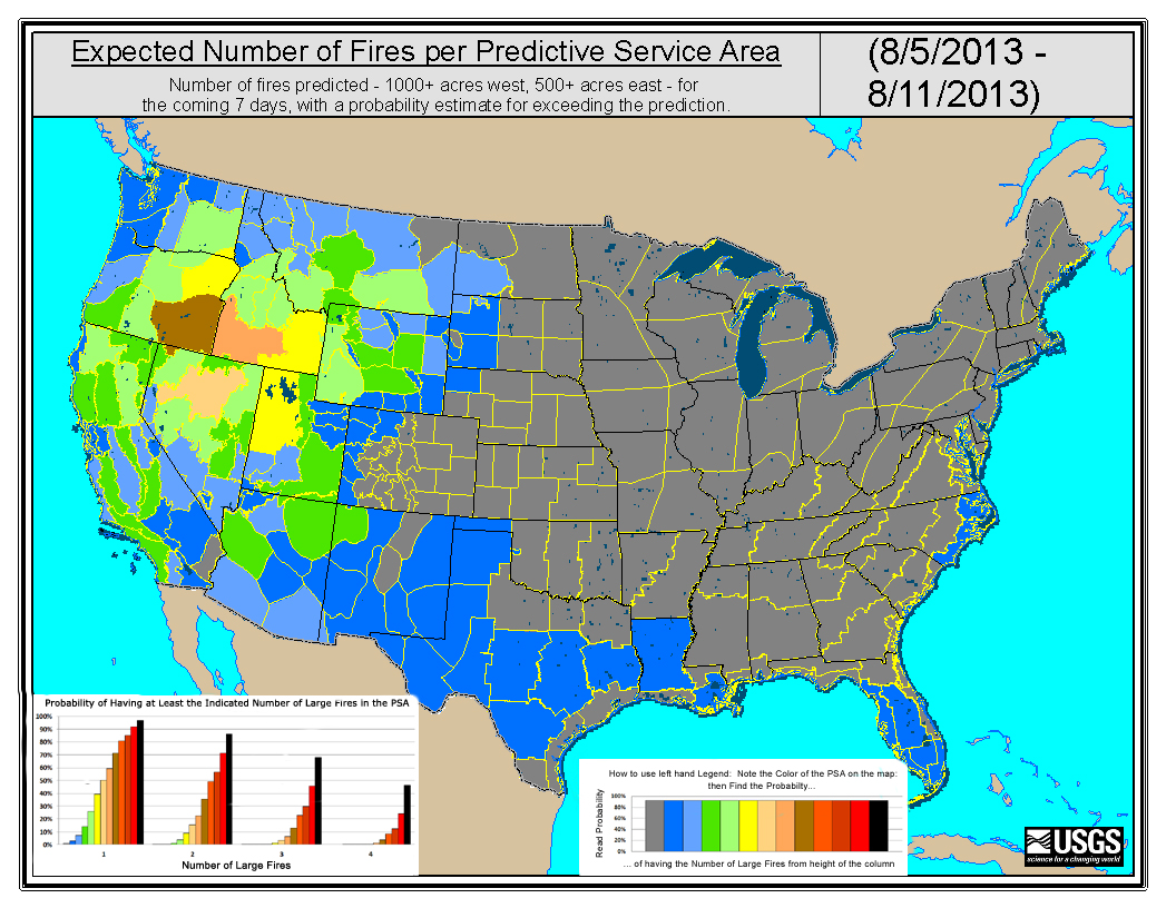 Expected number of fires per predictive service area for the week of August 5, 2013.