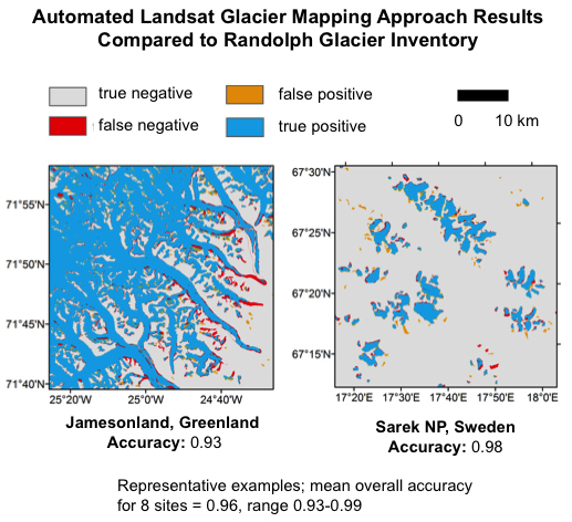 Comparison of automated Landsat glacier mapping approach results with Randolph Glacier Inventory maps from the same time period for two study areas. Results from these and six additional study areas indicate good agreement, demonstrating the effectiveness of the fully automated approach.