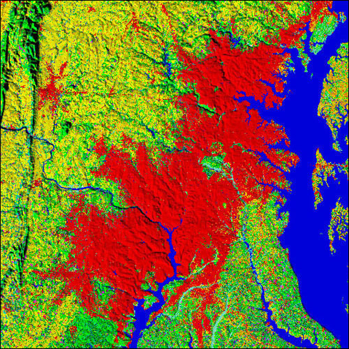 A projection of developed land (red) in the Baltimore-Washington area in 2050.