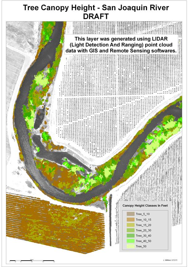 Image objects with assigned vegetation height classes (low = brown, tall = green), San Joaquin River, CA.