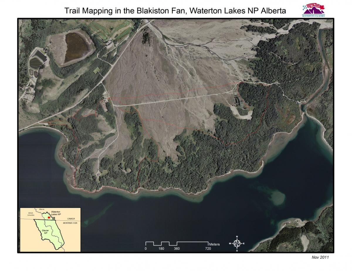 Trail Mapping in the Blakiston Fan, Waterton Lakes NP Alberta