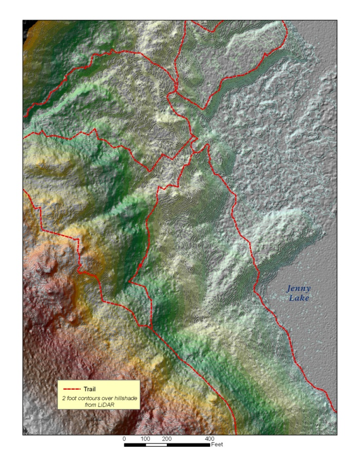 One to two foot contour intervals derived from lidar imagery over the Teton Fault.