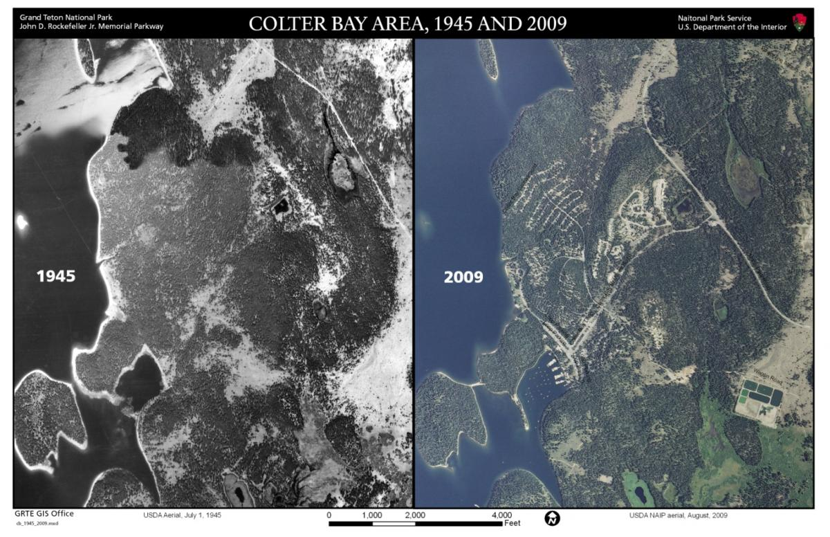 Aerial photography comparison from 1945 to 2009 of the Colter Bay area.