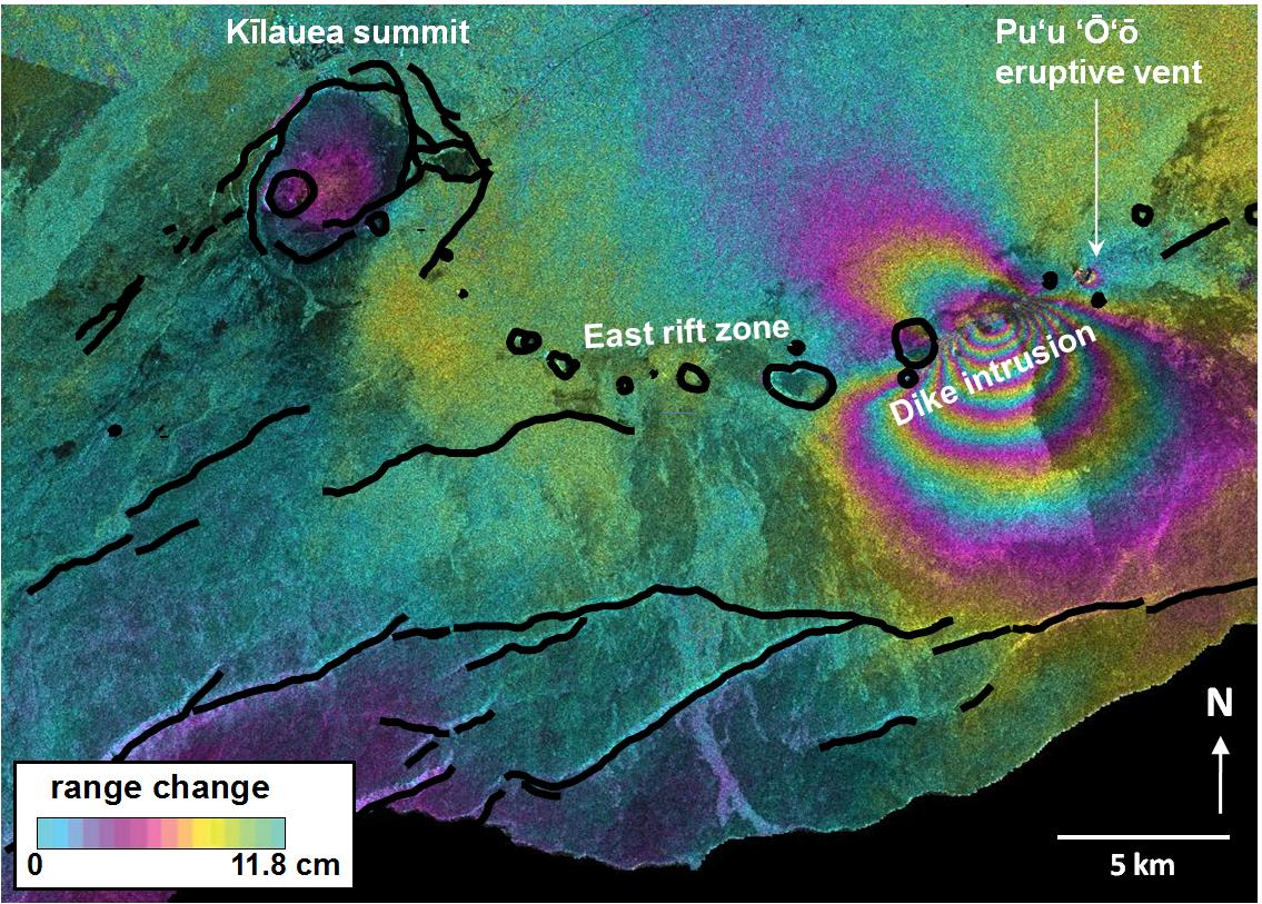 ALOS interferogram spanning January 18 – March 6, 2011.  Deformation patterns include several centimeters of subsidence at Kīlauea's summit and at the Pu'u 'Ō'ō eruptive vent, and meters of spreading along Kīlauea's east rift zone.  The deformation was caused as magma drained from beneath the summit and Pu'u 'Ō'ō to feed a dike intrusion and new fissure eruption.