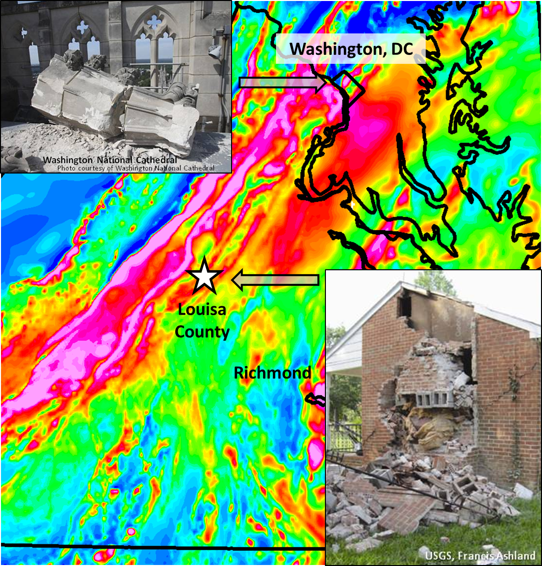 Virginia's magnetic field shows anomalies extending from the earthquake epicenter (star) towards Washington D.C.  Buildings in both Louisa County (lower inset) and Washington D.C. (upper inset) suffered significant damage.  High-resolution airborne geophysical surveys will image the causative fault.