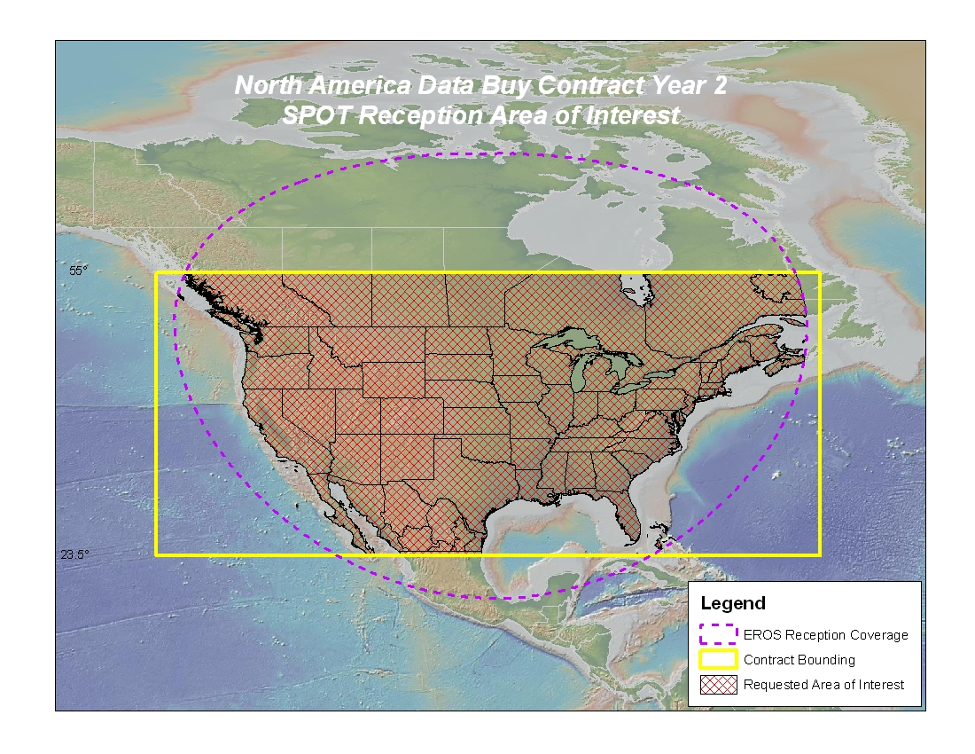 The North American Data Buy area of interest (yellow outline) and the region that  USGS EROS can directly downlink data from the SPOT satellites (dashed magenta outline)