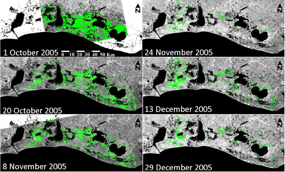 Envisat radar imagery of the Louisiana coast collected after Hurricane Rita in 2005.