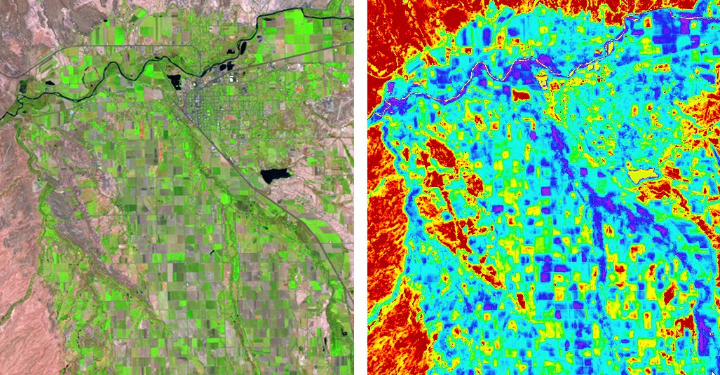 6/17/06 TM image of portions of the Uncompahgre and Lower Gunnison Valleys near Delta, Colorado (left) and 24-hour evapotranspiration image (right) developed using a remote-sensing -based energy balance model (right).  The TM image is displayed as TM bands 5,4,3 as R,G,B.  The evapotranspiration image is color-ramped between red (0 mm ET) and purple (8 mm ET).