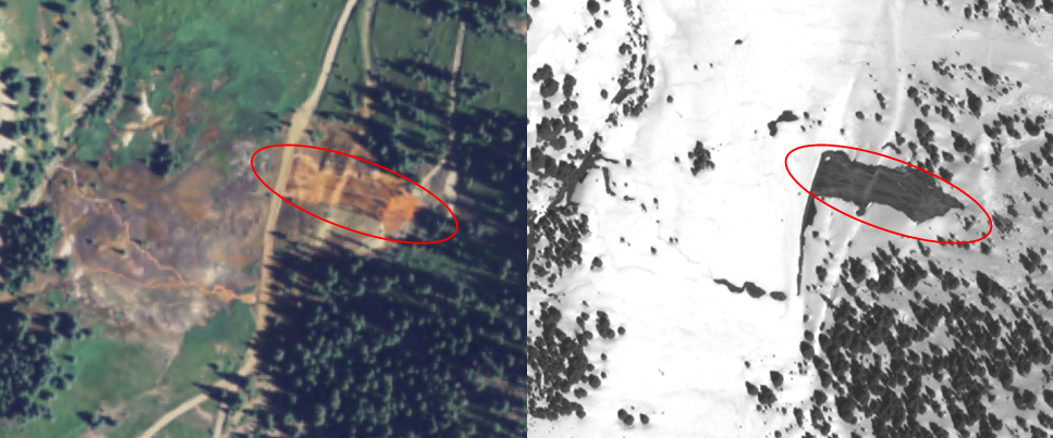 The left image shows a known point source of acid mine drainage in an aerial image of Cement Creek, Colorado.  The right image is the WorldView-1 RRO image that depicts how the acid discharge has melted the snow.