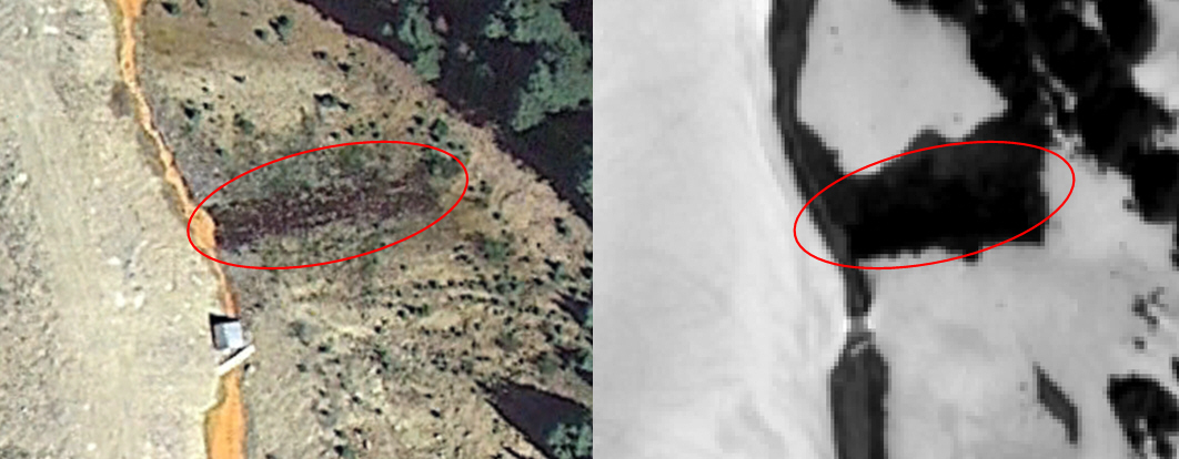 The left image from Google Earth depicts what appears to be fractured rocks at Cement Creek, Colorado.  The right image is the WorldView-1 RRO image showing snow melted over the fractured rocks due to the acid content. The source of acid discharge was not known prior to identifying it on the imagery.
