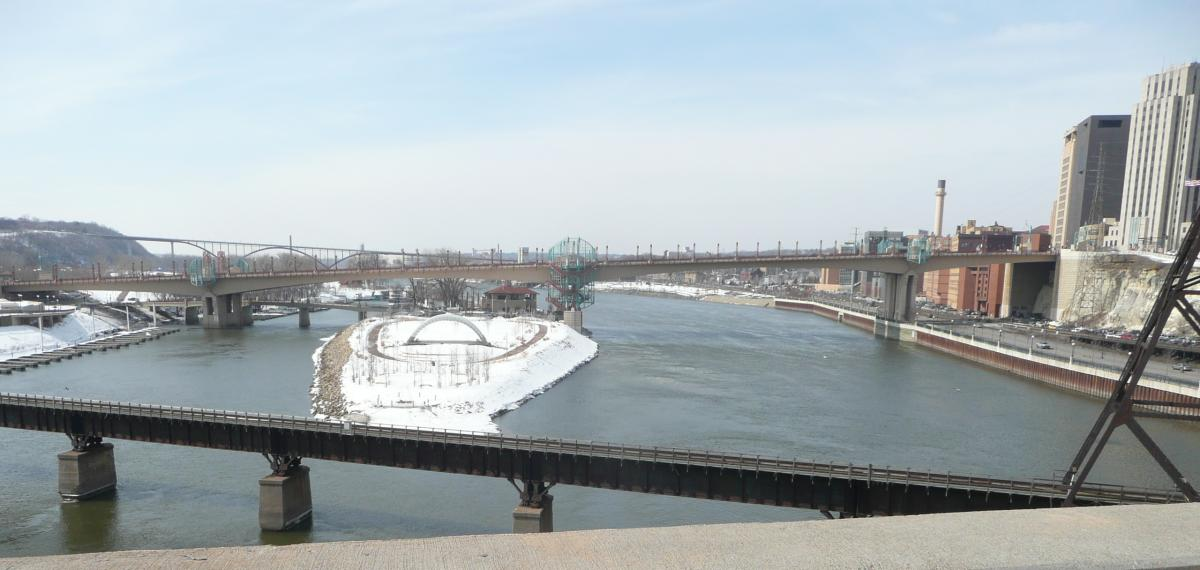 View of the Mississippi River, looking upstream from the bridge at Robert Street in St. Paul, Minnesota (photo taken March 2011).