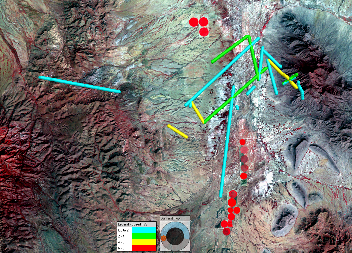 Mexican long-nosed and lesser long-nosed bat movements in meters per second (August 6-7, 2005) displayed with Landsat 5 imagery acquired October 11, 2010.  Blue is the lowest speed portrayed and yellow is the highest speed portrayed.