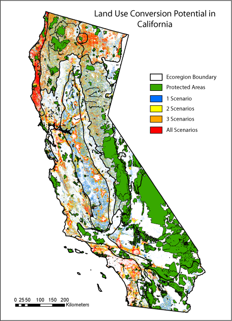 Map of California land use conversion potential based on land use and land cover change scenario agreement.