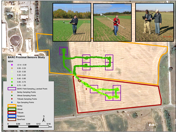 Handheld multispectral and hyperspectral proximal sensors gather on-the-ground data to help calibrate satellite imagery