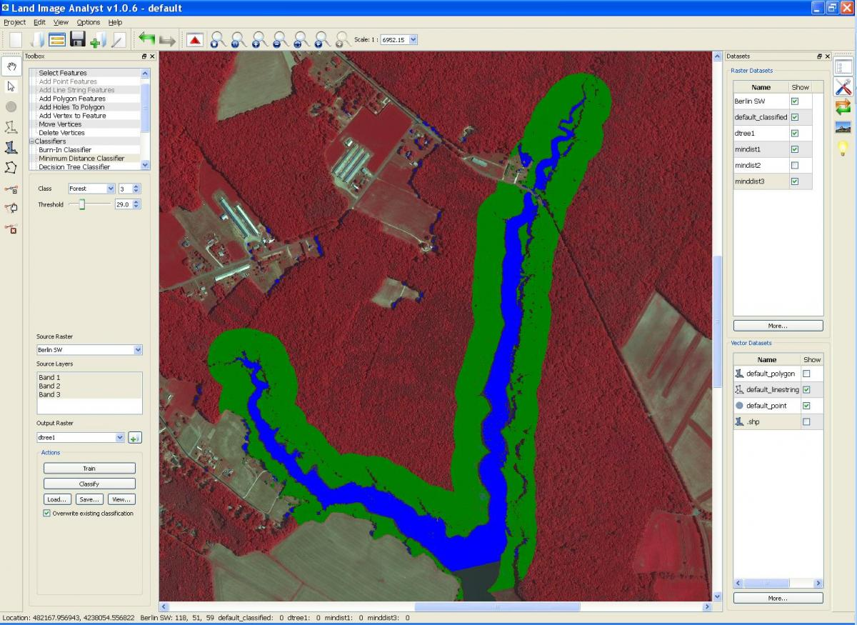Screenshot example of estimating riparian buffers in a portion of the Chesapeake Bay watershed